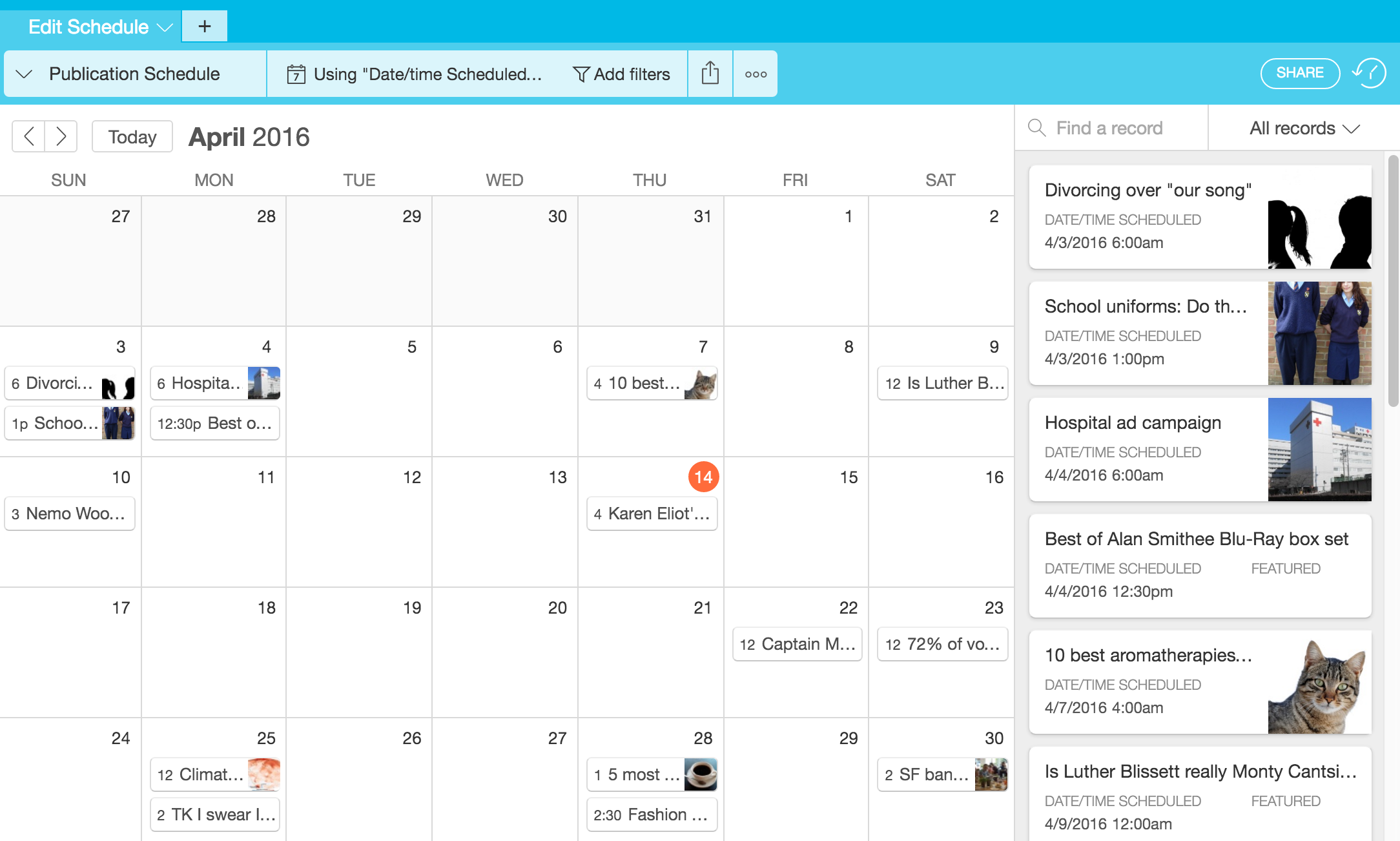 Guide to calendar view – Airtable - Support